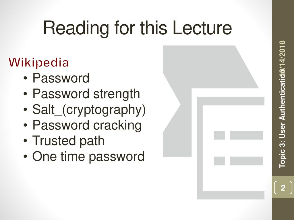 Topic 3: User Authentication - ppt download