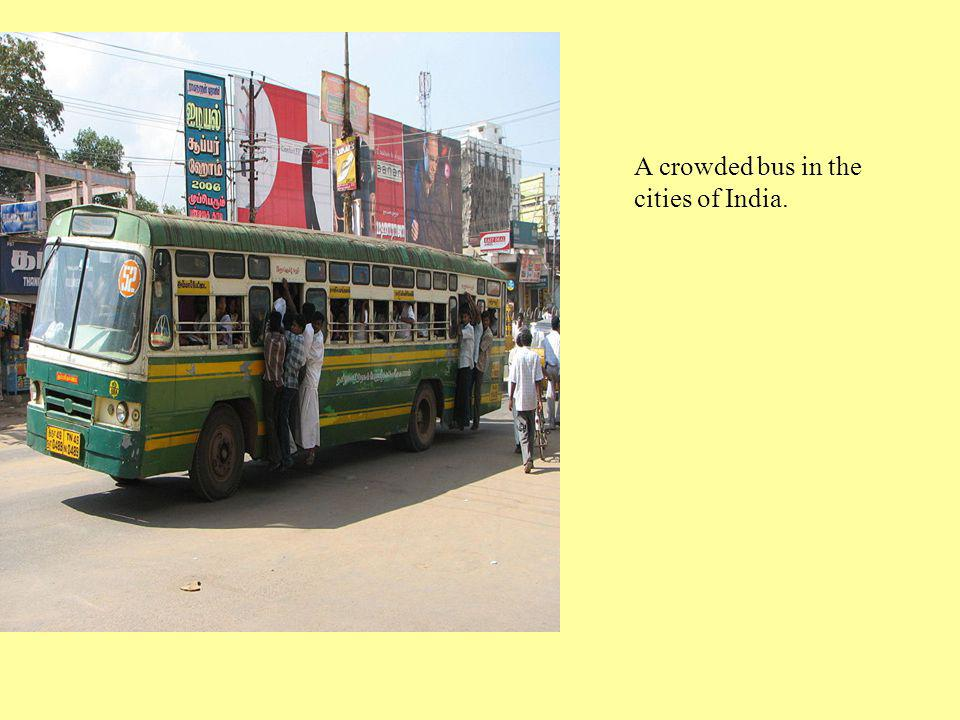 A crowded bus in the cities of India.