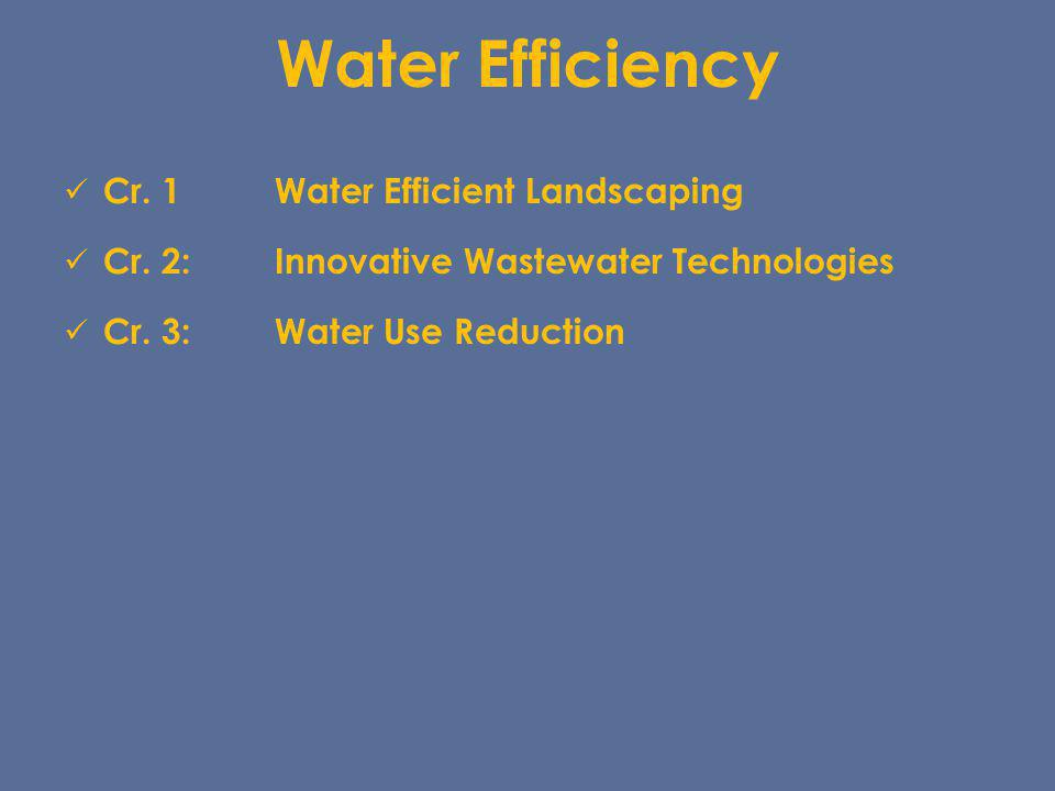 Water Efficiency Cr. 1 Water Efficient Landscaping