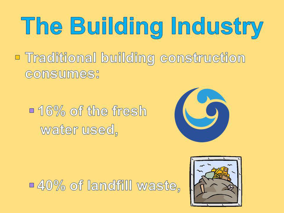 The Building Industry Traditional building construction consumes:
