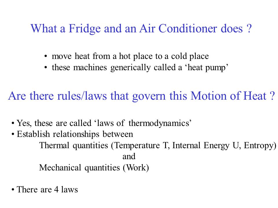 What a Fridge and an Air Conditioner does