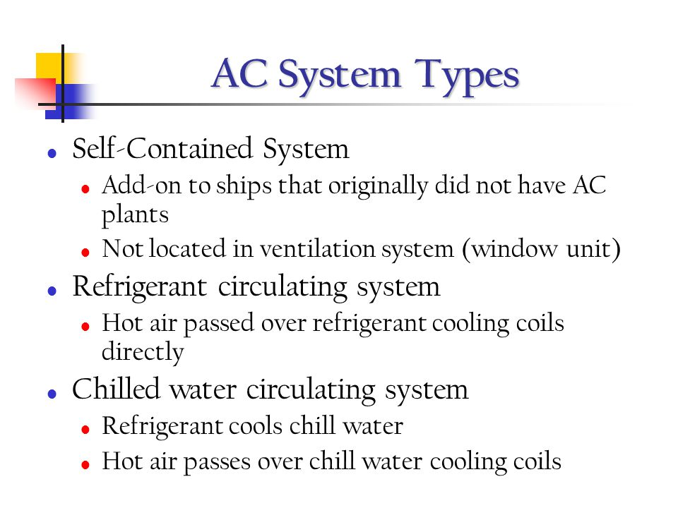 AC System Types Self-Contained System Refrigerant circulating system