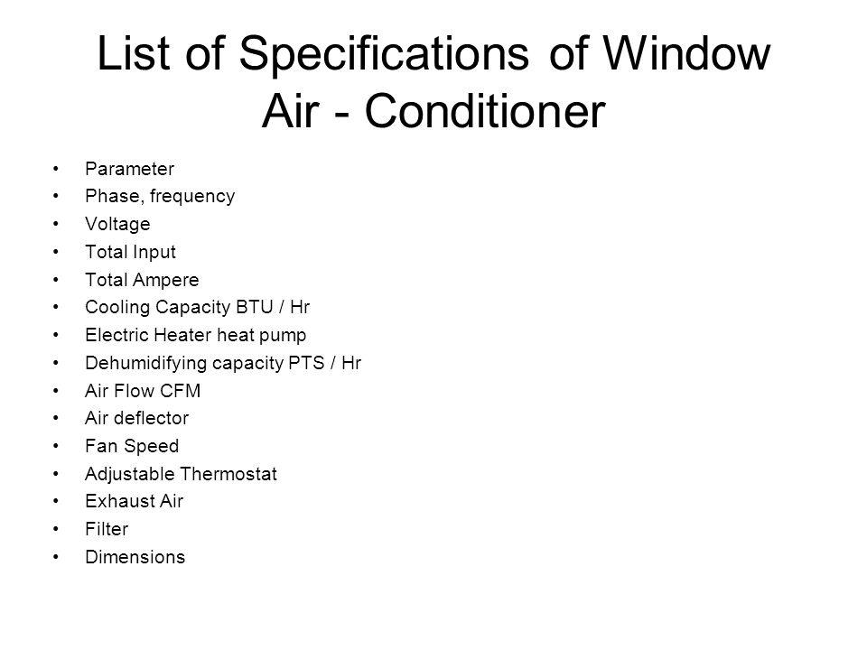 List of Specifications of Window Air - Conditioner