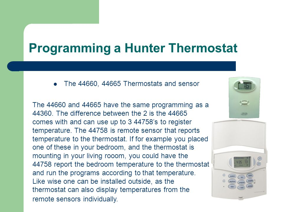 hunter thermostat training ppt video online download LML Scooter Wiring Diagram