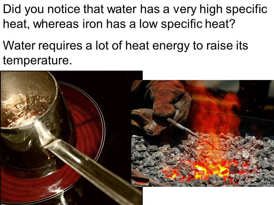 Did you notice that water has a very high specific heat, whereas iron has a low specific heat