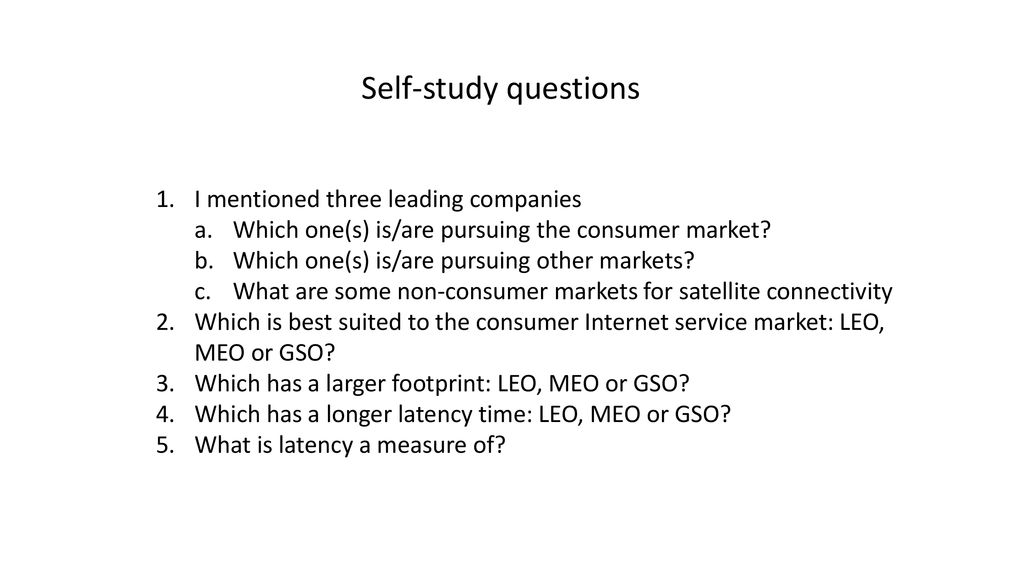 Self-study questions I mentioned three leading companies