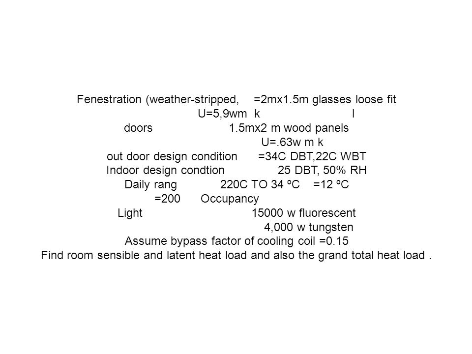 Fenestration (weather-stripped, =2mx1.5m glasses loose fit l U=5,9wm k