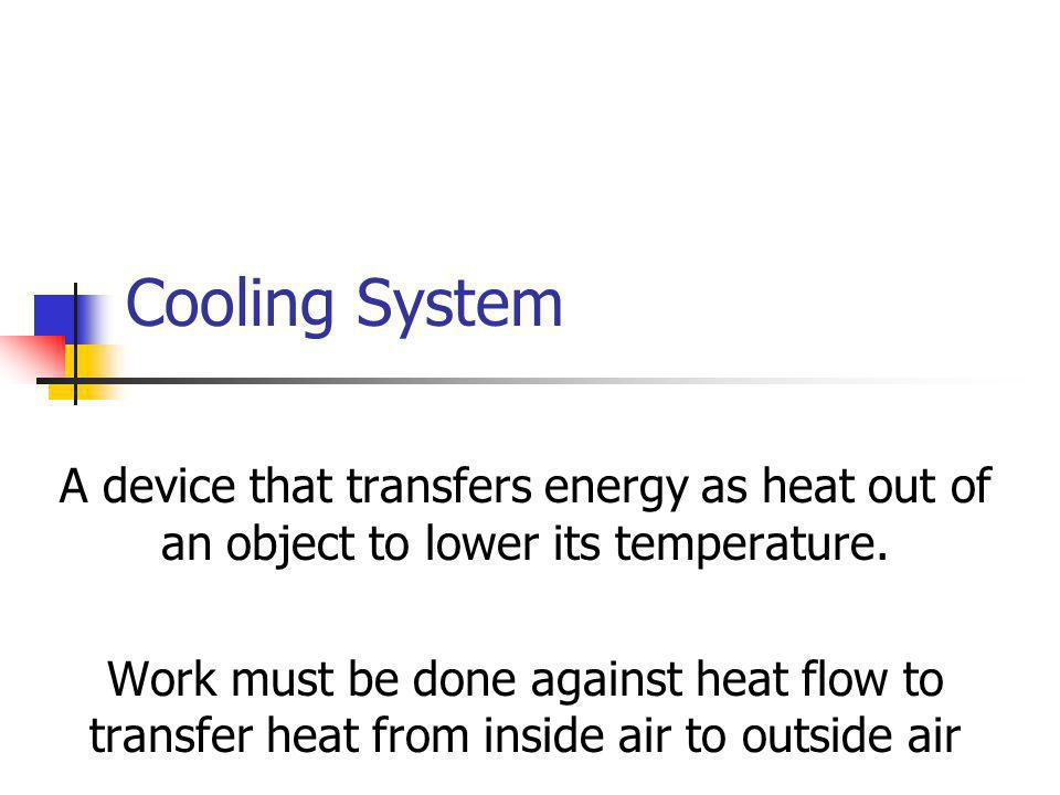 Cooling System A device that transfers energy as heat out of an object to lower its temperature.