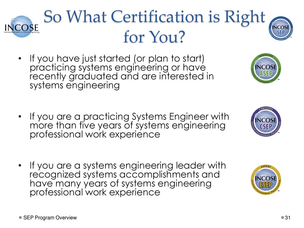 Incose Systems Engineering Professional Sep Certification Ppt