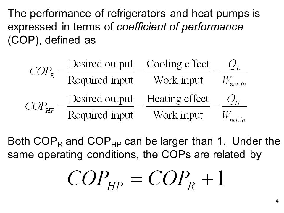 The+performance+of+refrigerators+and+heat+pumps+is+expressed+in+terms+of+coefficient+of+performance+%28COP%29%2C+defined+as - coefficient of performance (COP)
