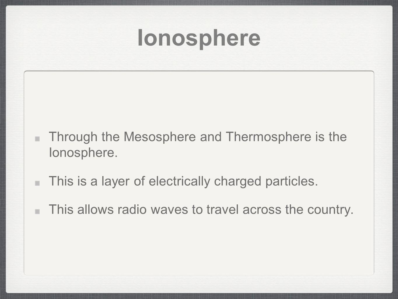 Ionosphere Through the Mesosphere and Thermosphere is the Ionosphere.