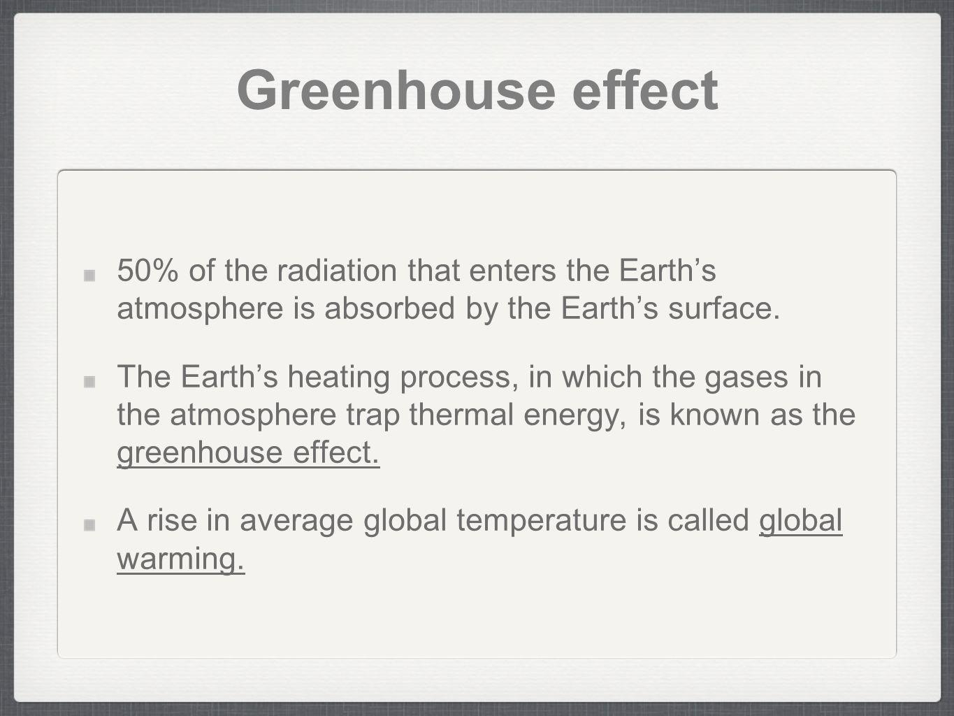 Greenhouse effect 50% of the radiation that enters the Earth's atmosphere is absorbed by the Earth's surface.