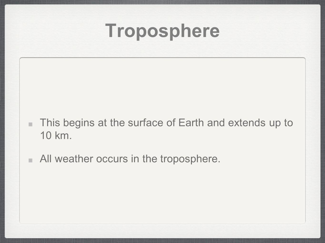 Troposphere This begins at the surface of Earth and extends up to 10 km.
