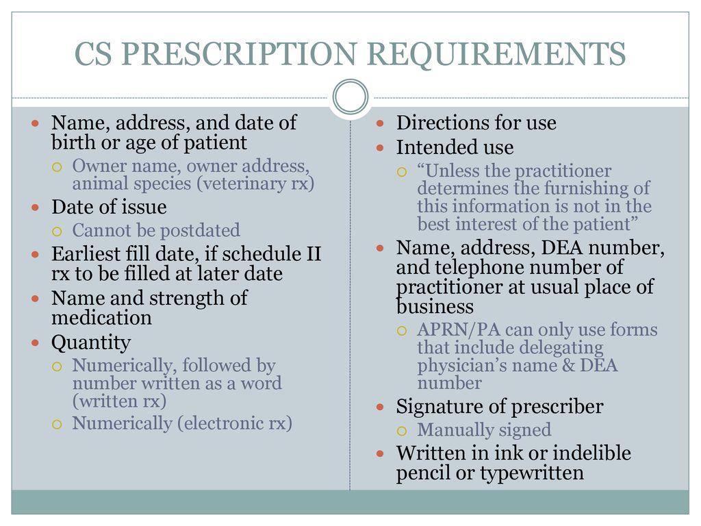 dea cii prescription requirements