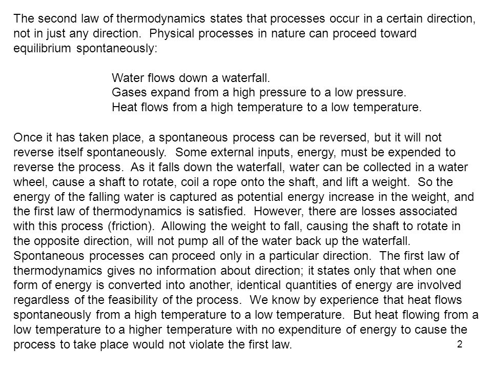 Chapter 6 the second law of thermodynamics study guide in powerpoint the second law of thermodynamics states that processes occur in a certain direction not in fandeluxe Choice Image