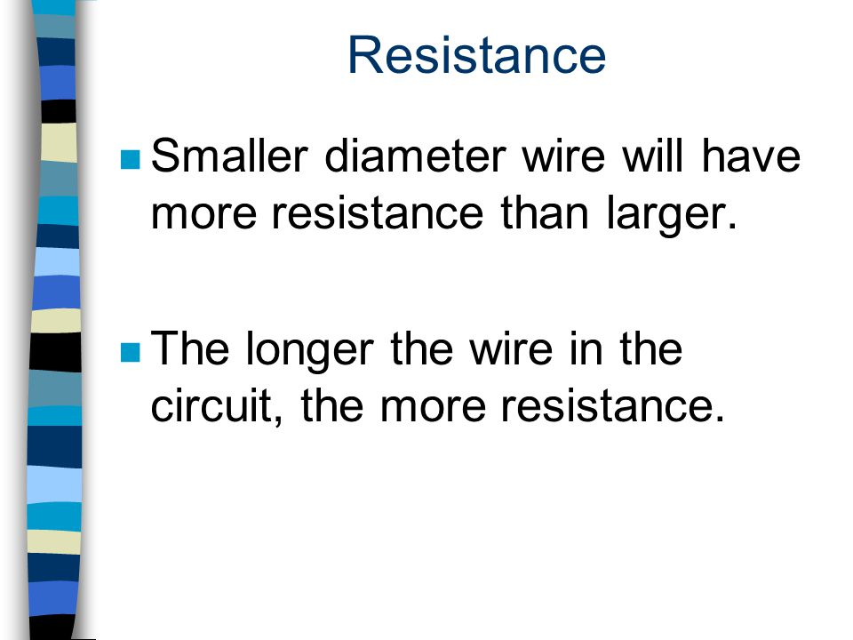Resistance Smaller diameter wire will have more resistance than larger.