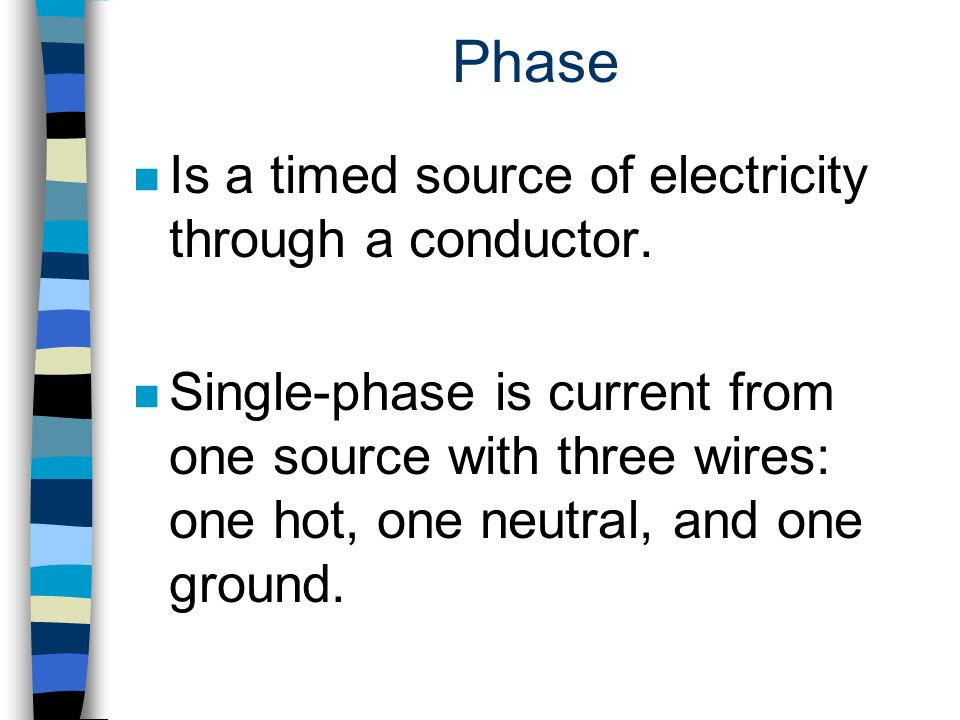Phase Is a timed source of electricity through a conductor.