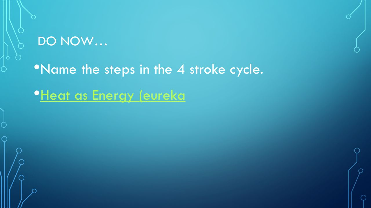 Name the steps in the 4 stroke cycle. Heat as Energy (eureka