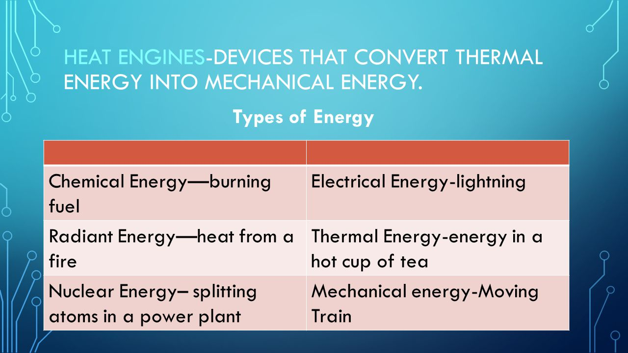 Heat Engines-devices that convert thermal energy into mechanical energy.