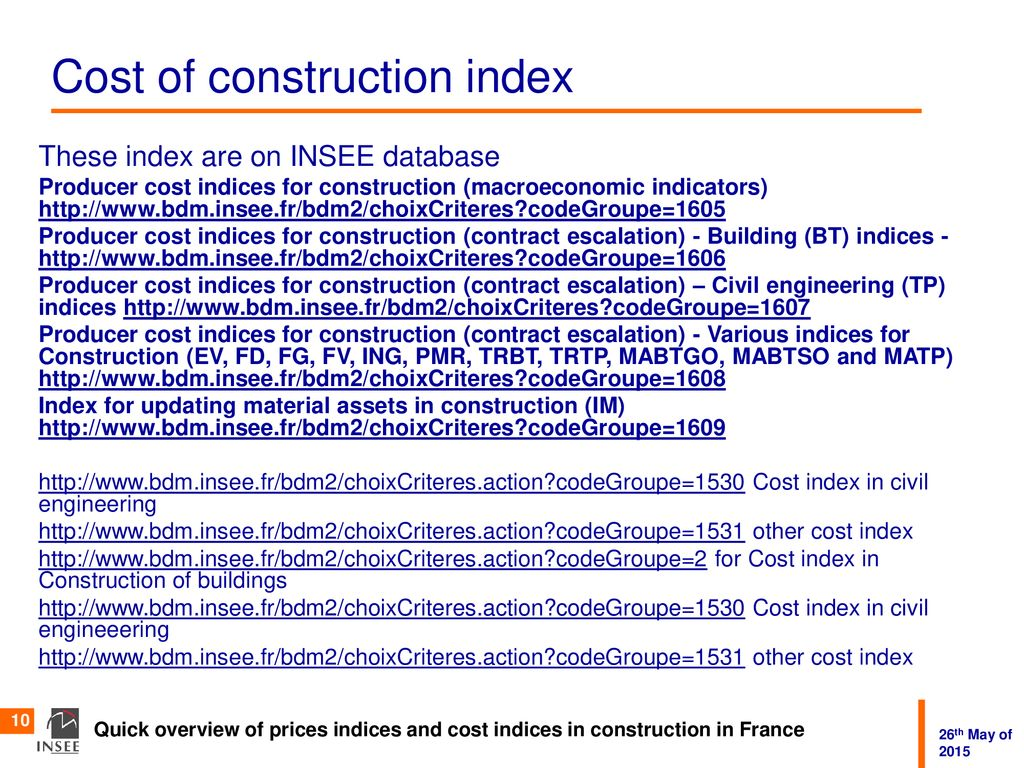 Cost Index And Price Index In Construction Ppt Download