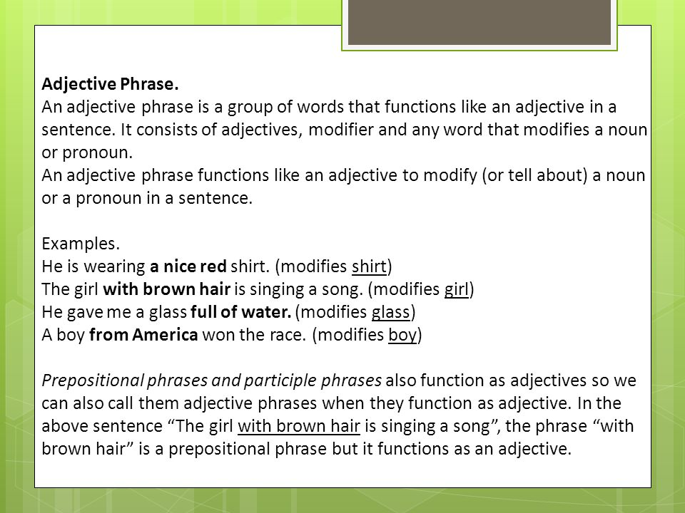 Adjectival phrases lessons tes teach.