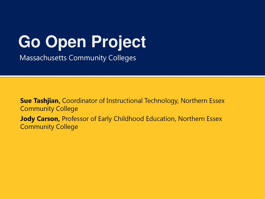 Go Open Project Massachusetts Community Colleges