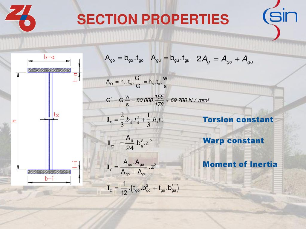 SECTION PROPERTIES Torsion constant Warp constant Moment of Inertia