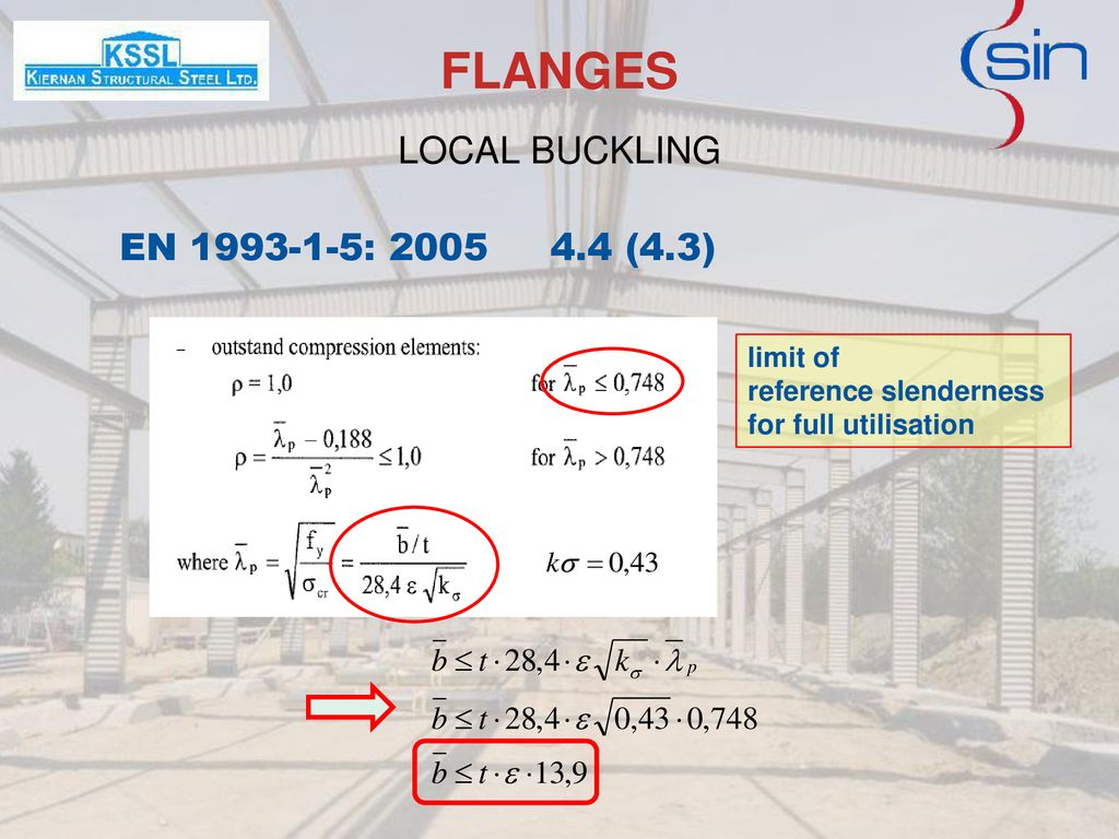 FLANGES LOCAL BUCKLING EN : (4.3) limit of