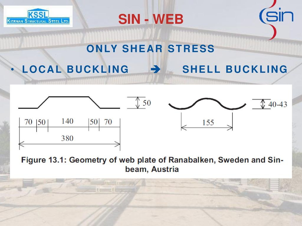 SIN - WEB ONLY SHEAR STRESS LOCAL BUCKLING  SHELL BUCKLING