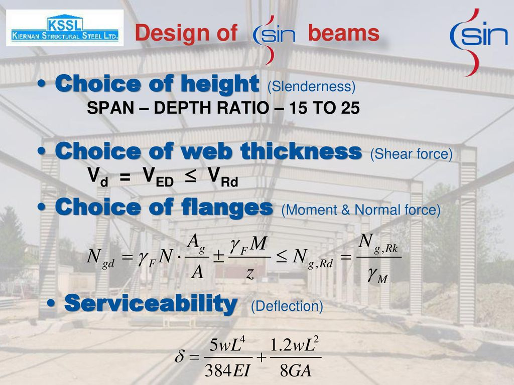 Design of beams Choice of height (Slenderness) SPAN – DEPTH RATIO – 15 TO 25.