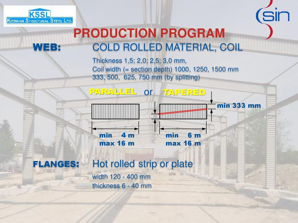 PRODUCTION PROGRAM WEB: COLD ROLLED MATERIAL, COIL