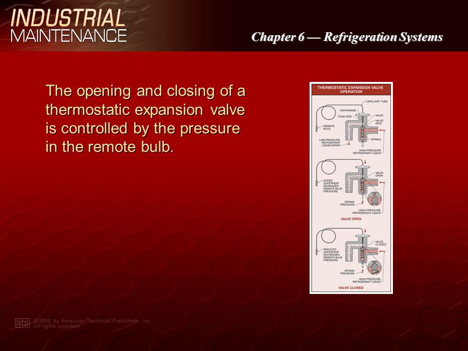 The opening and closing of a thermostatic expansion valve is controlled by the pressure in the remote bulb.