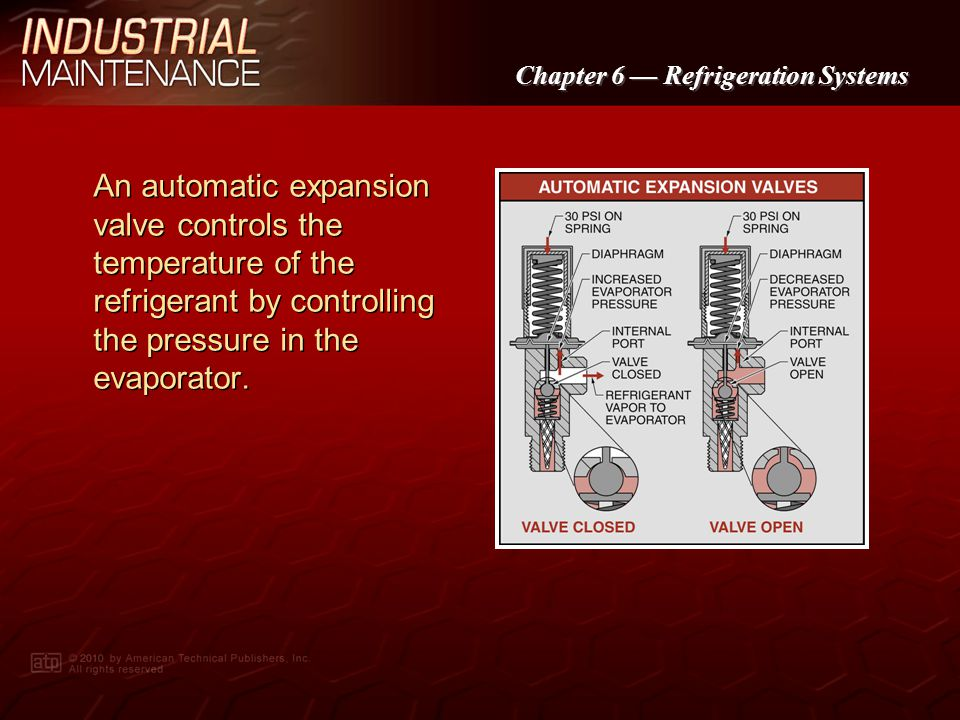 An automatic expansion valve controls the temperature of the refrigerant by controlling the pressure in the evaporator.