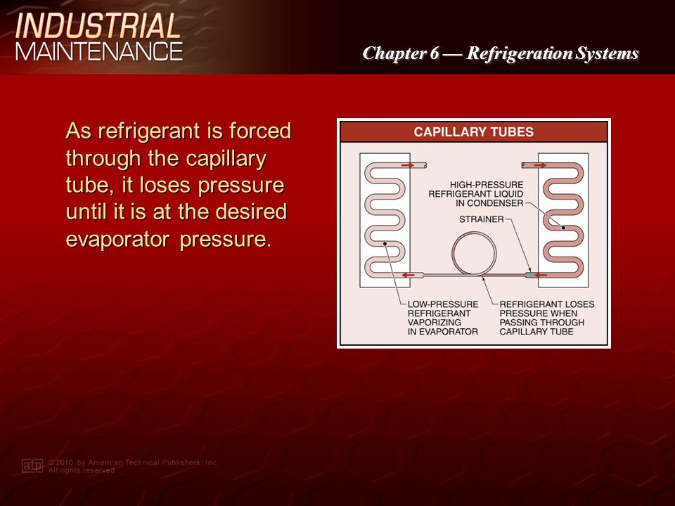 As refrigerant is forced through the capillary tube, it loses pressure until it is at the desired evaporator pressure.