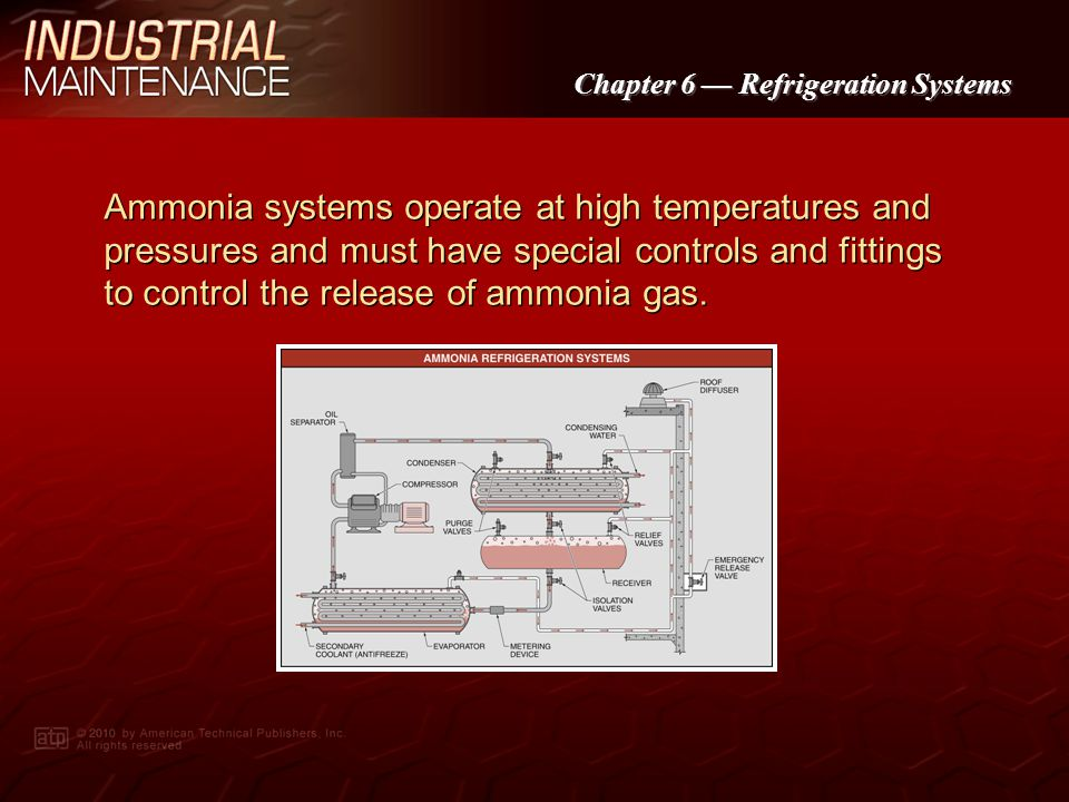 Ammonia systems operate at high temperatures and pressures and must have special controls and fittings to control the release of ammonia gas.
