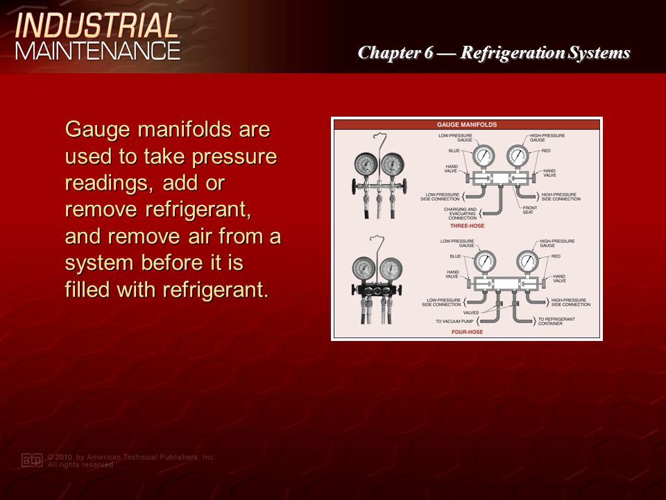Gauge manifolds are used to take pressure readings, add or remove refrigerant, and remove air from a system before it is filled with refrigerant.