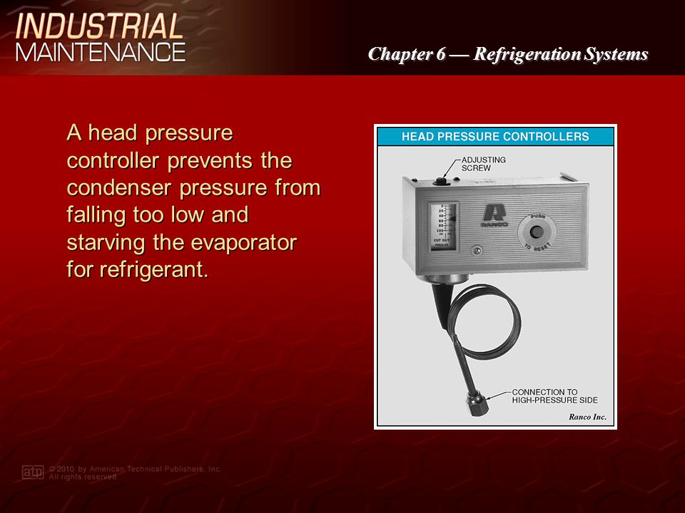A head pressure controller prevents the condenser pressure from falling too low and starving the evaporator for refrigerant.