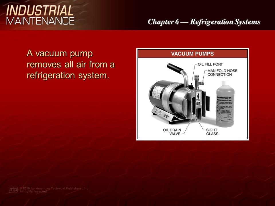 A vacuum pump removes all air from a refrigeration system.