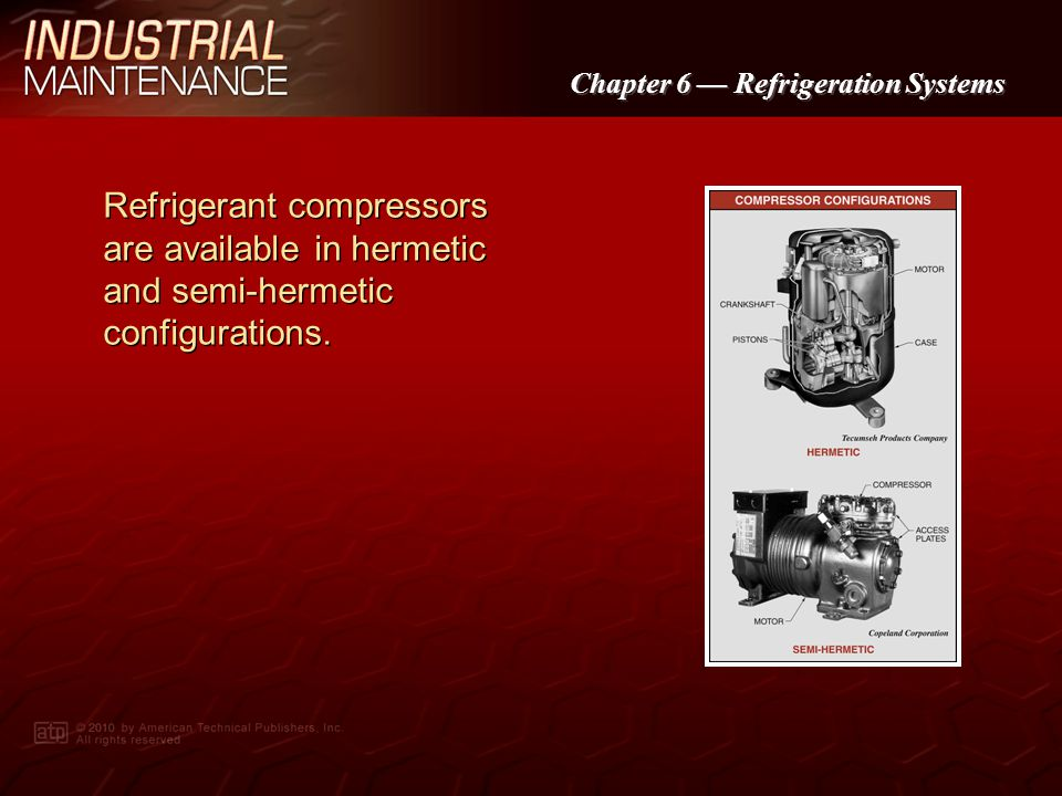 Refrigerant compressors are available in hermetic and semi-hermetic configurations.