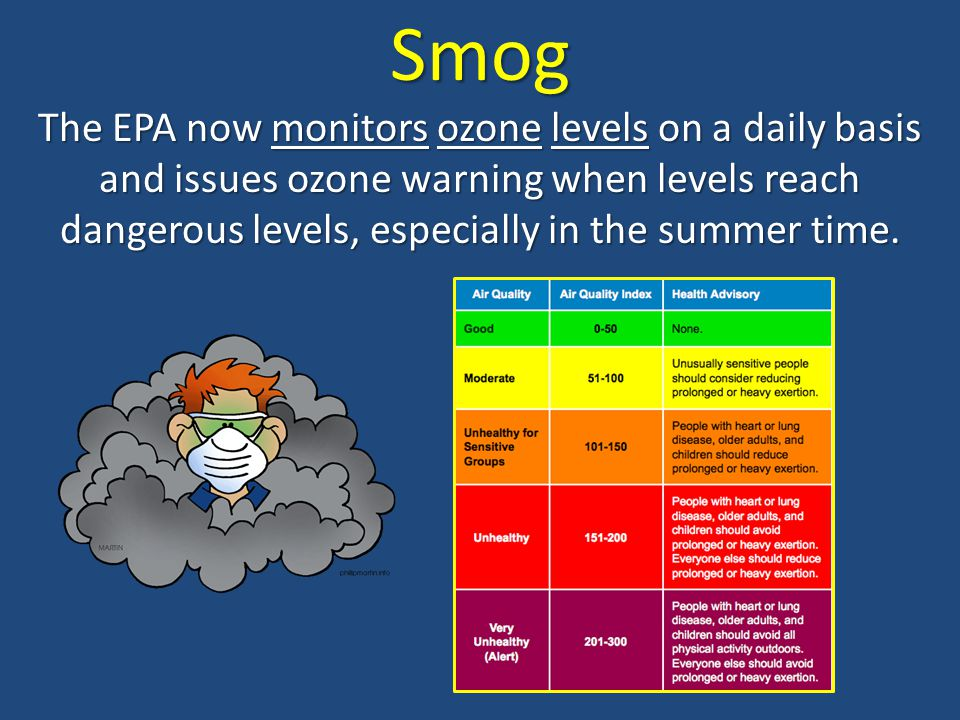 Smog The EPA now monitors ozone levels on a daily basis and issues ozone warning when levels reach dangerous levels, especially in the summer time.