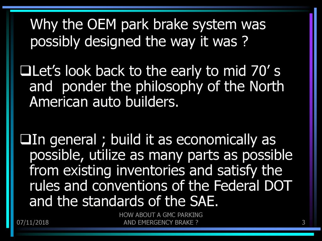 GMC Motorhome Parking Brake Deficiencies and Improvements