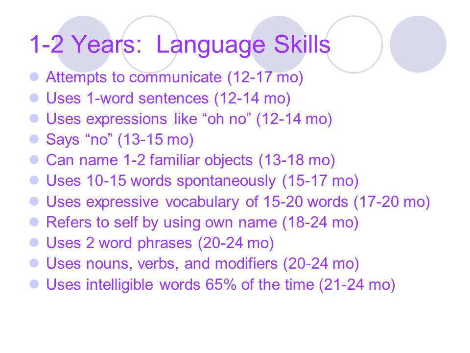 1-2 Years: Language Skills