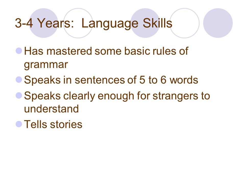 3-4 Years: Language Skills