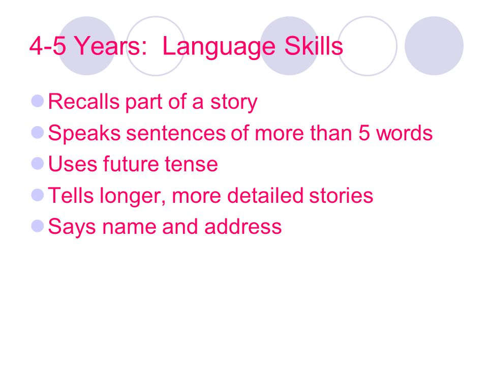 4-5 Years: Language Skills