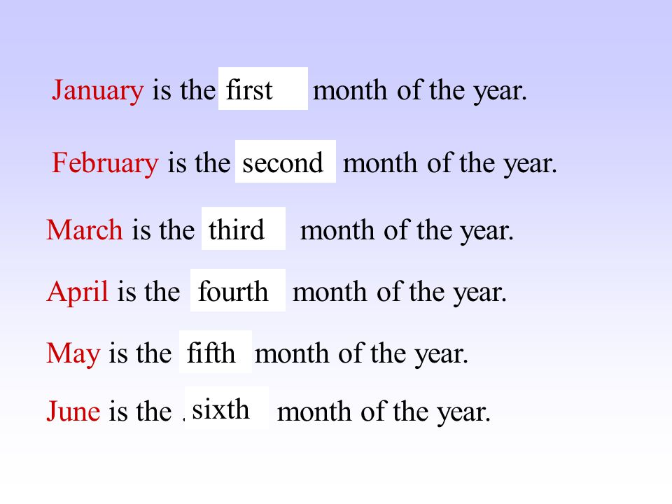 January is the …… month of the year.