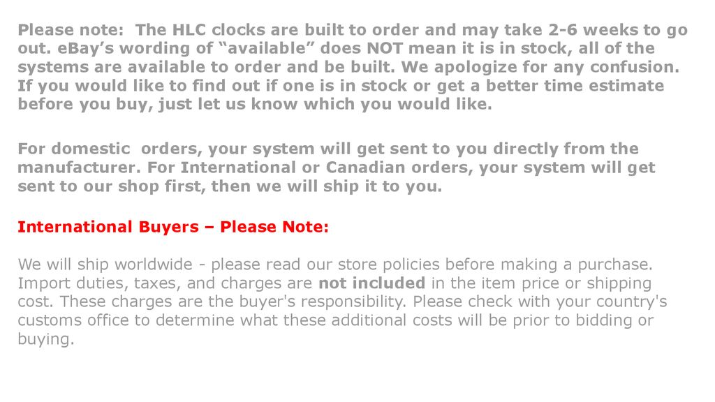 0db0201b573 Please note: The HLC clocks are built to order and may take 2-6 ...