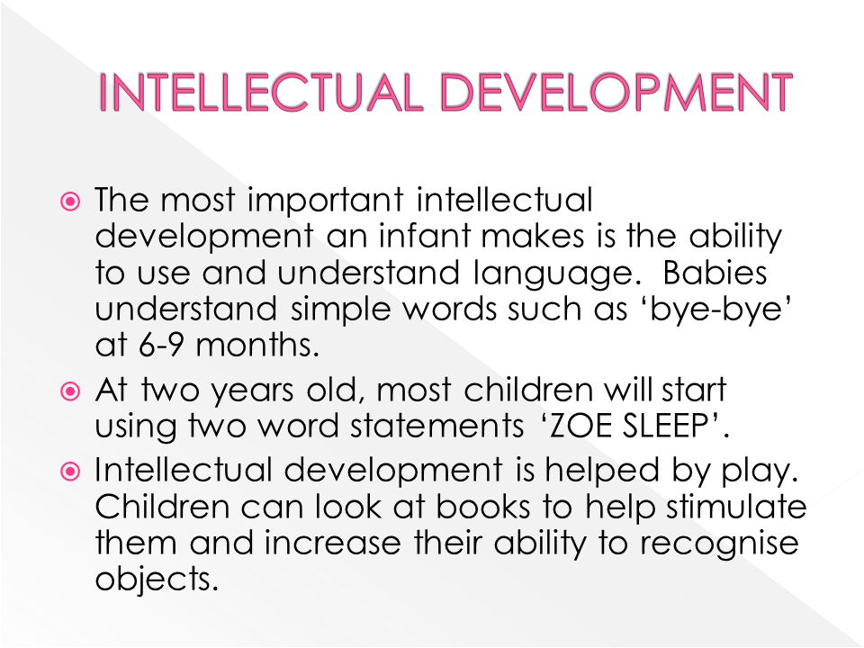 Infancy 0 2 Years Lesson Objective To Learn About The