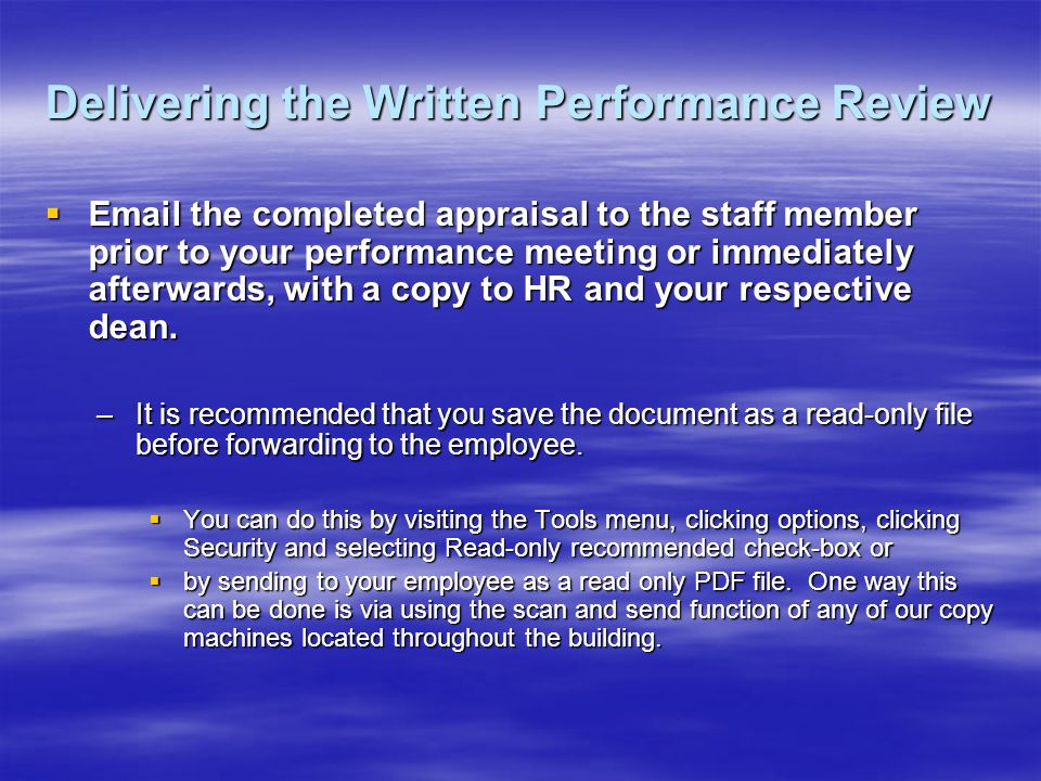 Delivering the Written Performance Review