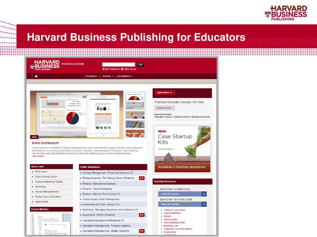 Harvard Business Publishing for Educators and Students - ppt
