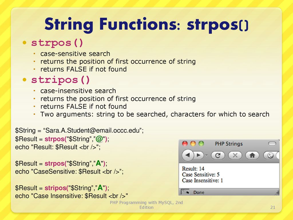 php first occurrence of character in string ▷▷ a c i